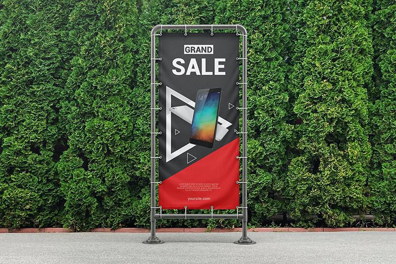 金属框架乙烯基横幅广告设计样机designshidai_yj246