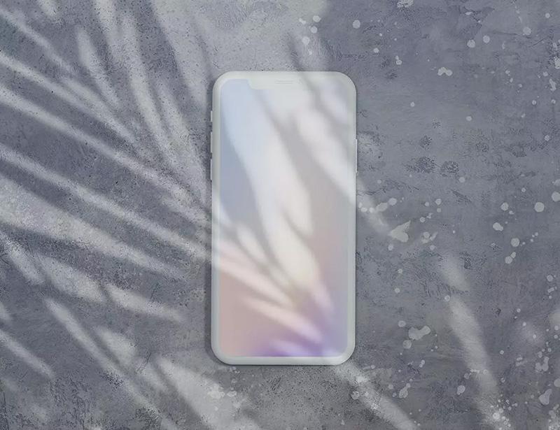 多阴影叠加的iPhone刘海屏页面设计样机模板designshidai_yj287