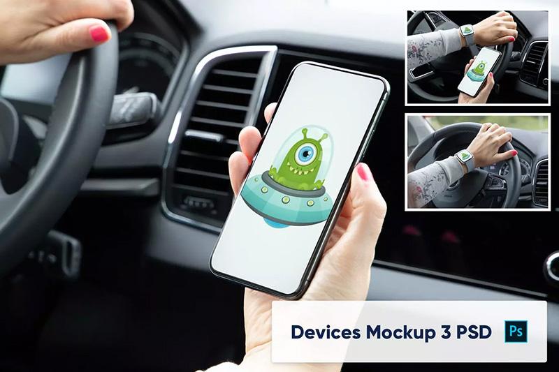 车内场景智能手表&手机屏幕预览样机PSD模板designshidai_yj289