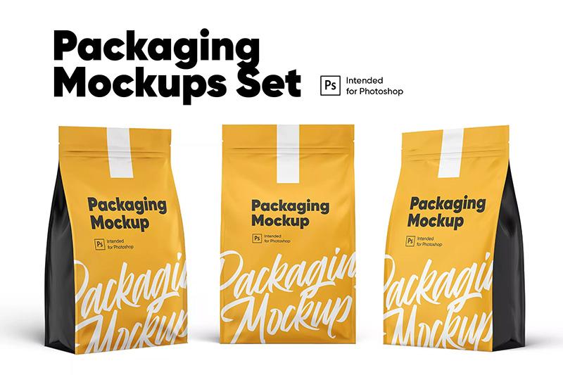 产品/食品包装袋外观设计样机模板集designshidai_yj292