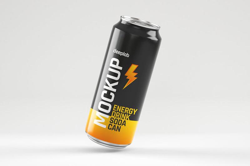光泽的能量饮料苏打水易拉罐包装设计样机集designshidai_yj347