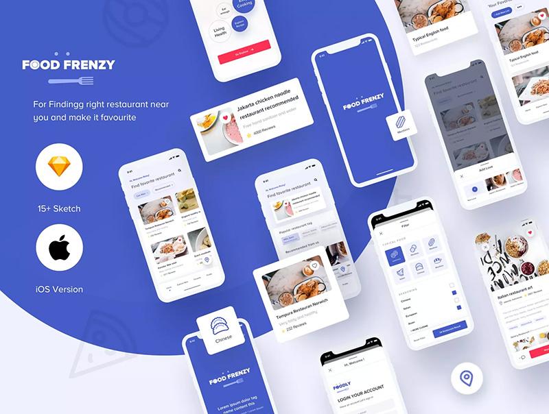 餐饮美食主题APP iOS UI套件designshidai_ui68