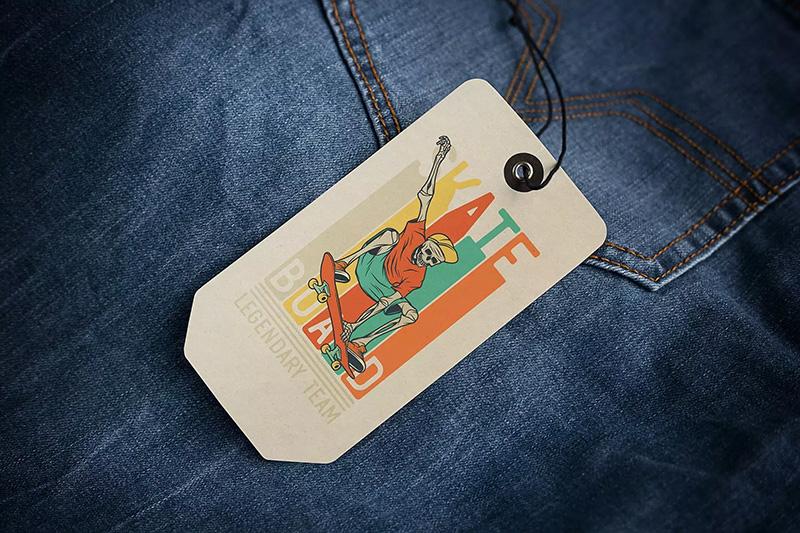 牛仔裤服装吊牌标签设计样机模板designshidai_yj245