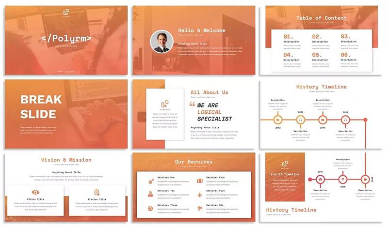 渐变橙现代金融主题业务演示PPT模板designshidai_ppt011