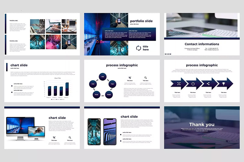 高科技企业发布会PowerPoint产品演示模板 Tech – Technology PowerPoint Template designshidai_ppt013