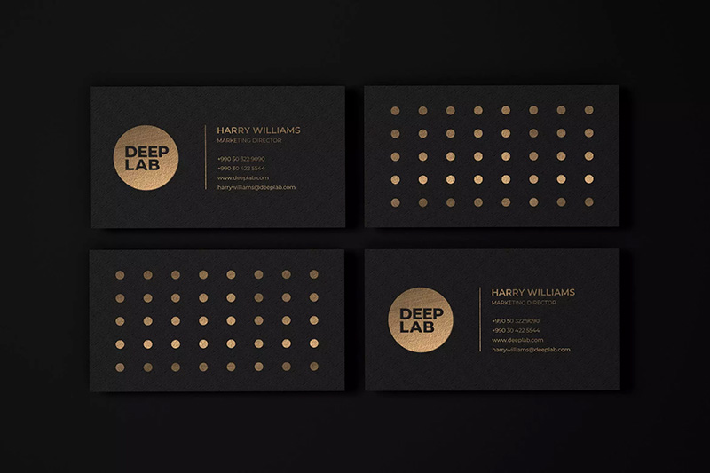 豪华黑金风格名片设计样机模板designshidai_yj265