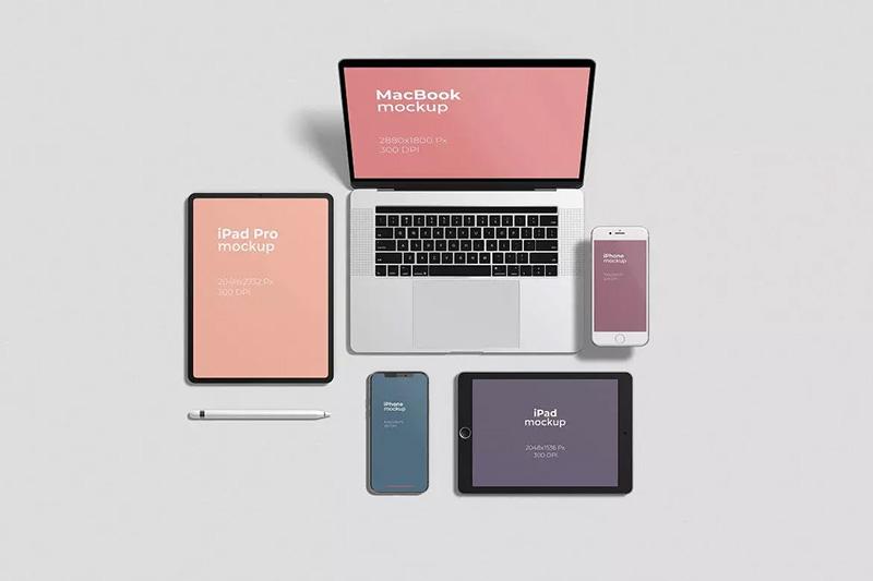 响应式网页设计多设备屏幕展示顶视图样机模板designshidai_yj323