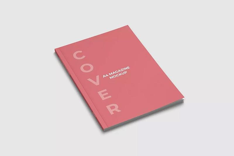 A4杂志封面高角度俯视图样机模板designshidai_yj327