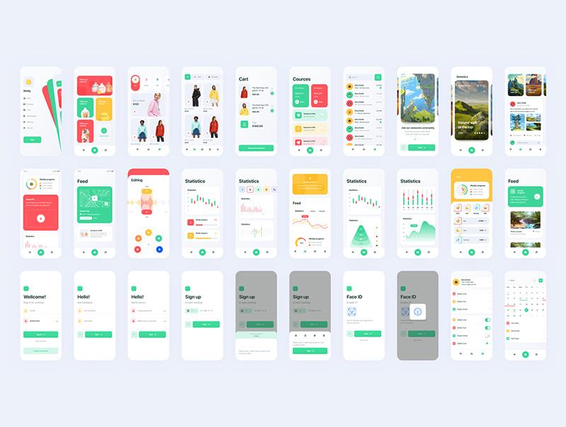 时尚多彩的多功能APP UI套件designshidai_ui69