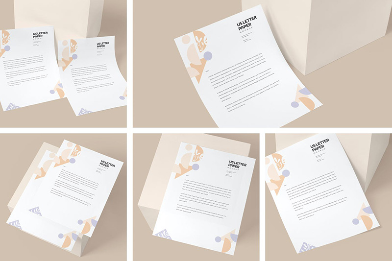 美国信纸尺寸文具纸张效果图展示样机designshidai_yj249