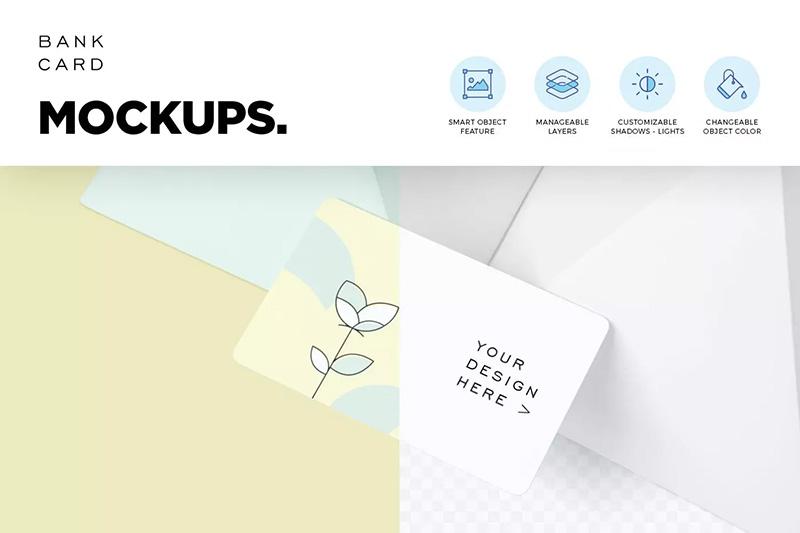 5个银行卡品牌设计样机模板designshidai_yj252