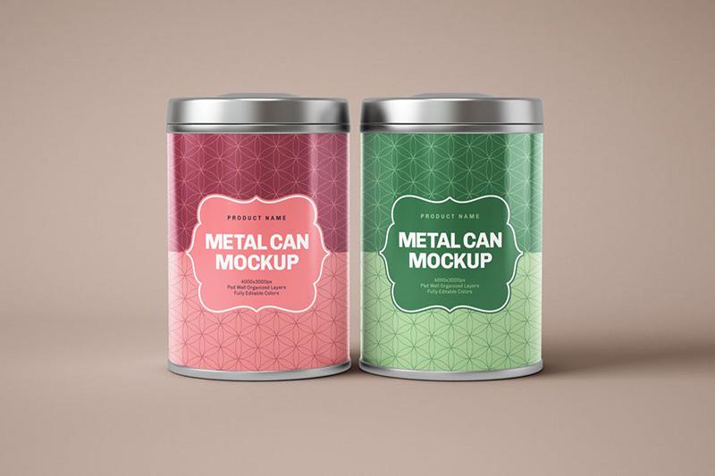 光滑的圆形锡盒包装设计样机模板 Glossy Round Tin Box Mockup designshidai_yj340