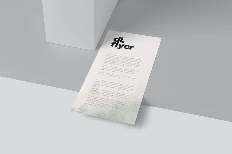 俯视预览单页DL传单样机模板designshidai_yj226
