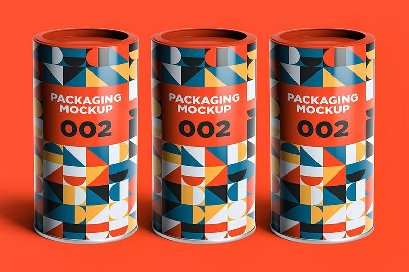 铁质圆柱形零食盒外包装效果图样机V.2 Packaging Mockup  002 designshidai_yj355