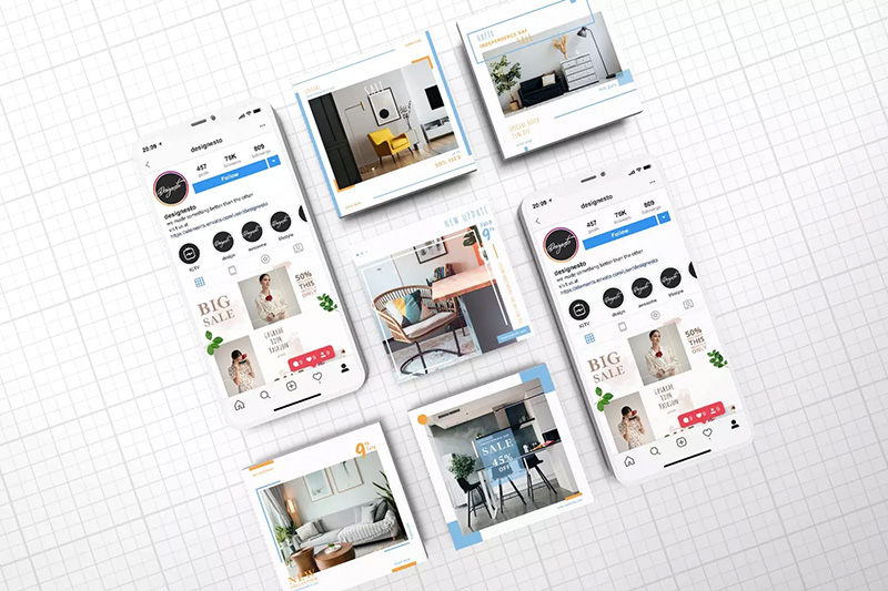 Iphone组合屏幕社交媒体广告模板designshidai_yj240