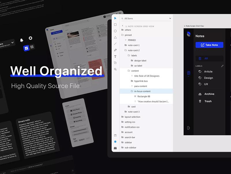 笔记&记事主题网站仪表板UI套件designshidai_ui76