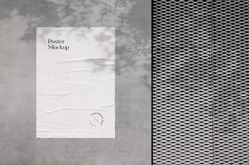 石墙粘胶作品海报展示样机模板designshidai_yj277