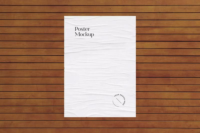 城市石墙&木墙广告海报展示样机模板designshidai_yj278