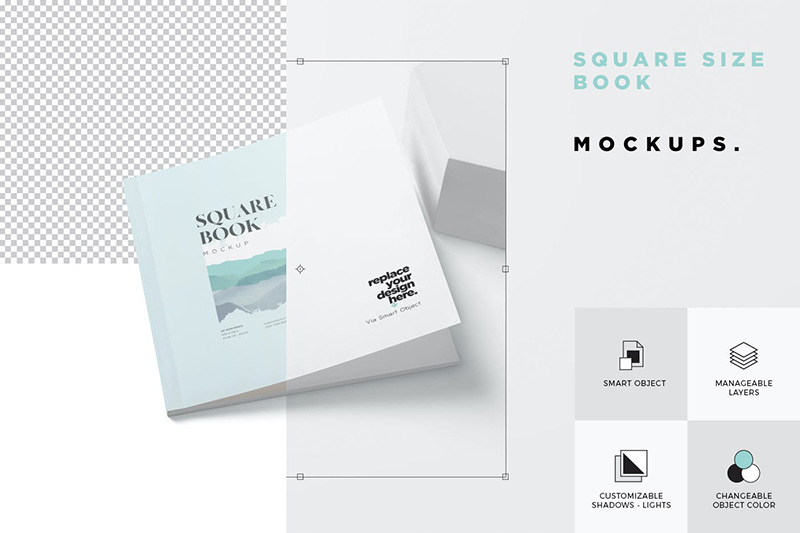 实体正方形书本/杂志排版预览效果图样机designshidai_yj225