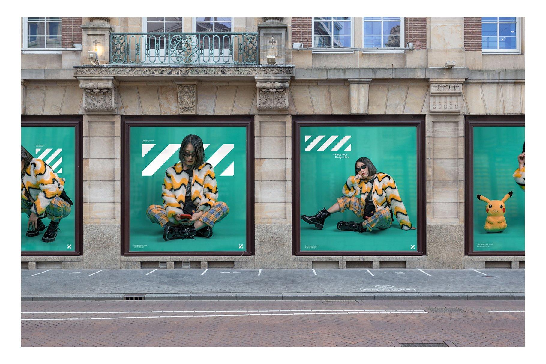 商店立面橱窗广告展示设计样机designshidai_yj412