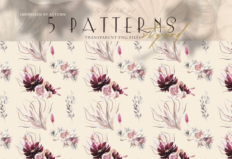 波西米亚风矢量花卉图案背景底纹纹理集合designshidai_beijing91
