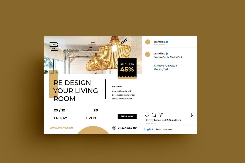 多用途简约房地产海报风格Instagram社交媒体banner海报设计模板designshidai_haibao37