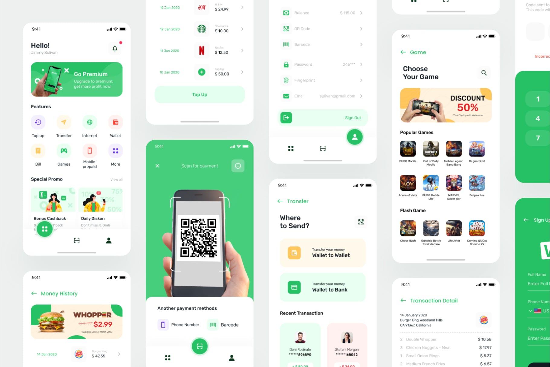 数字钱包金融区块链产品设计模板 Apps UI Kit designshidai_ui126