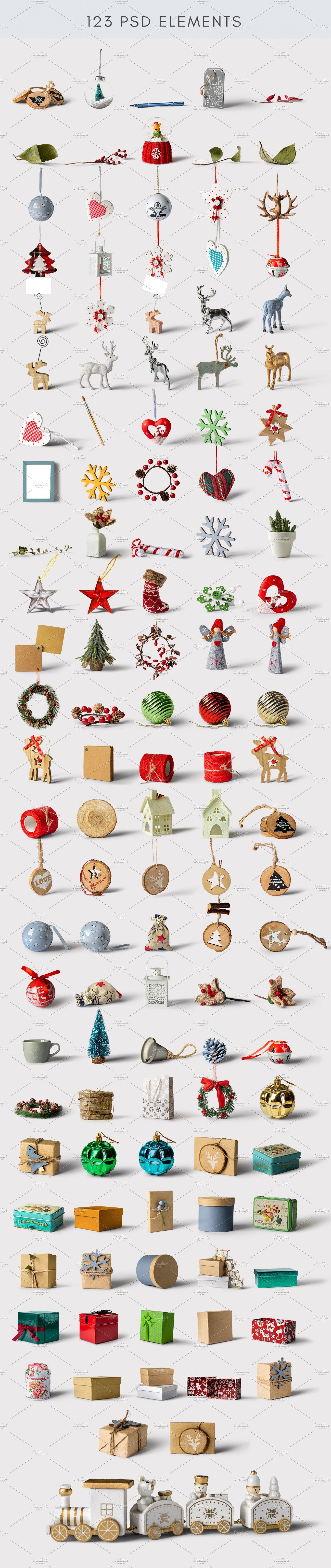 圣诞装饰元素场景样机生成器designshidai_yj426
