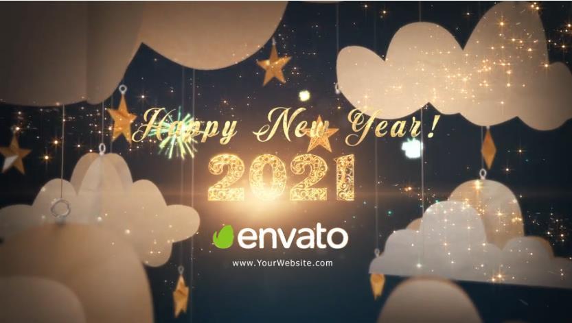 2021年新年快乐剪纸问候视频AE模板