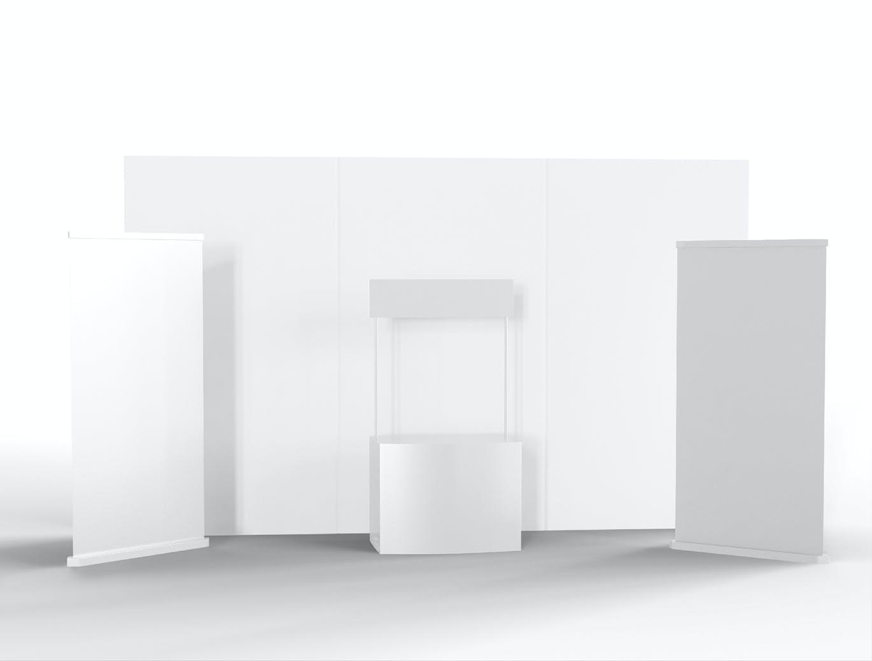 高端简约组合展会设计展台设计展示样机mockup模型designshidai_yj387