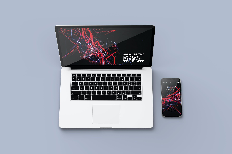 笔记本macbook pro电脑和智能手机iphone样机mockup模型designshidai_yj388