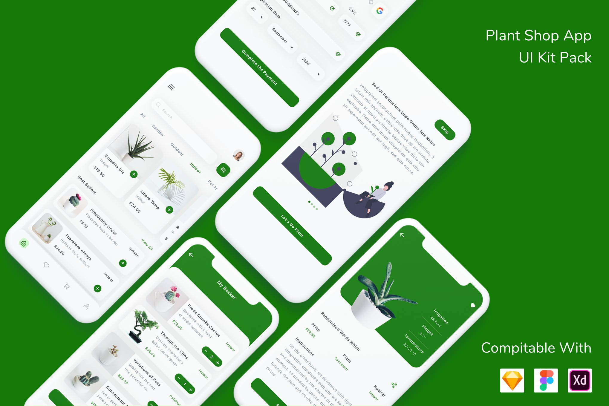 绿植电商 App UI Kit 模板designshidai_ui110