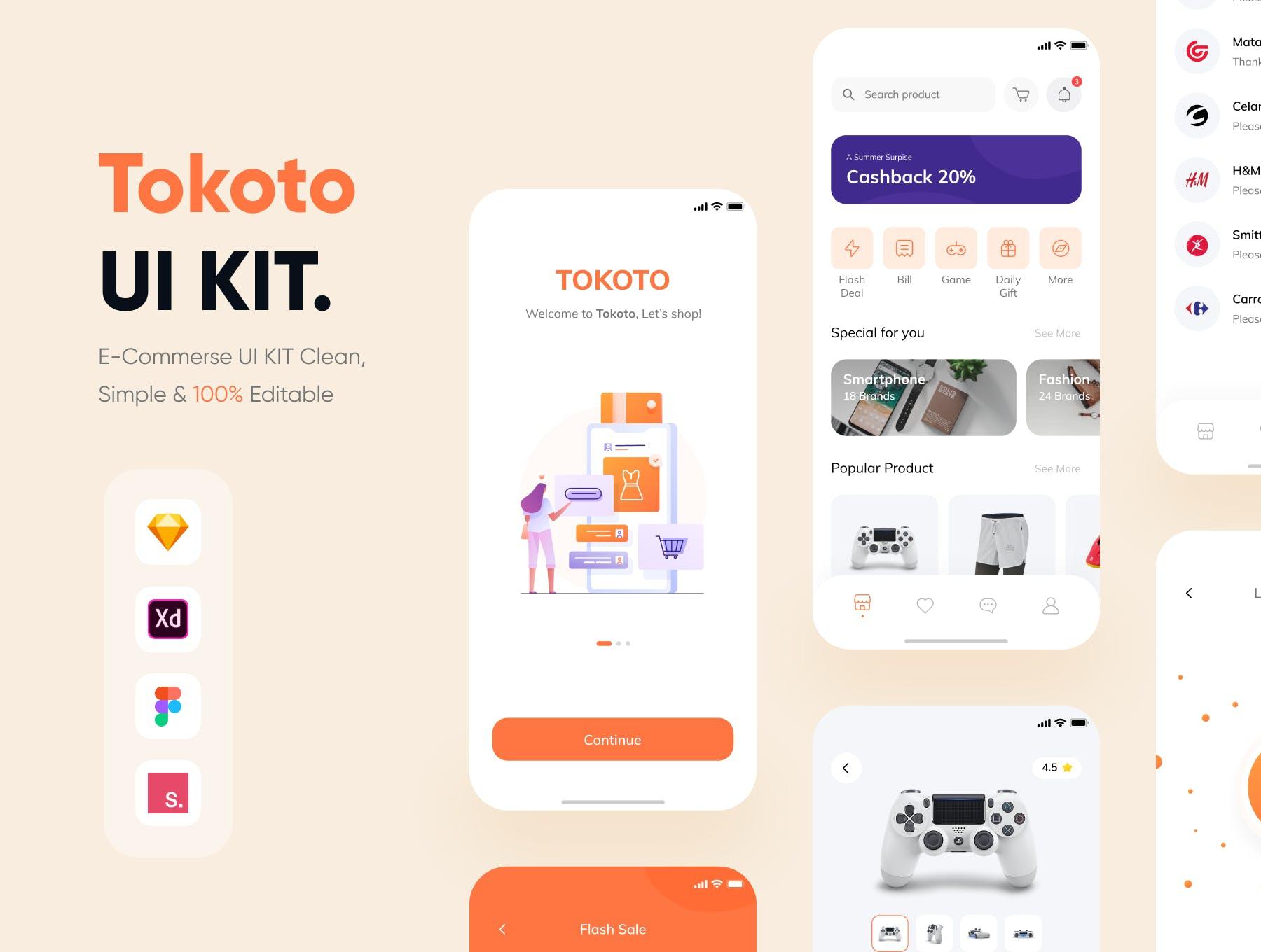在线购物东京风格的电商 Apps UI Kit流行设计模板 designshidai_ui127