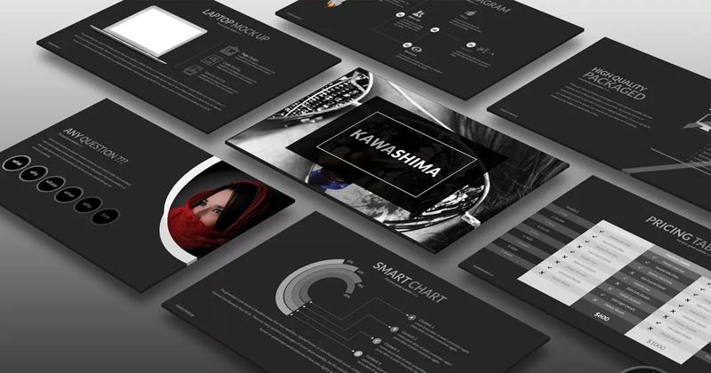 大气黑色背景电子商务产品推广PPT模板designshidai_ppt046