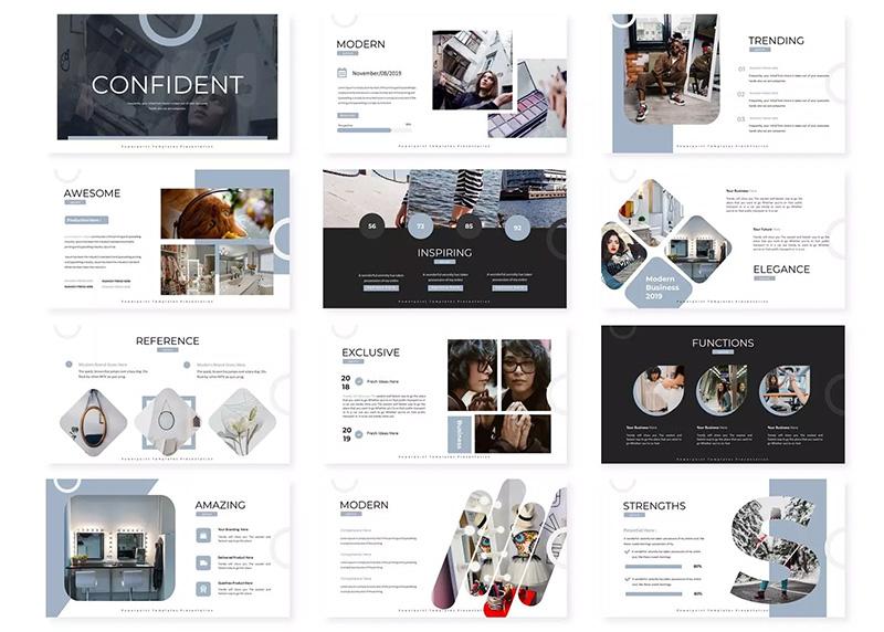 时尚简约女性主题柔和彩色设计PPT模板designshidai_ppt056