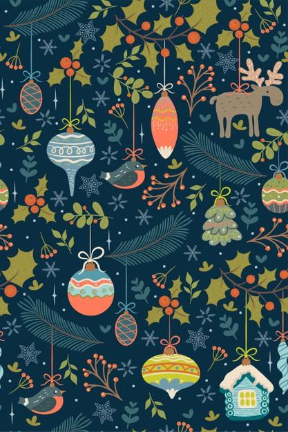 圣诞节玩具与树枝无缝图案背景designshidai_beijing58