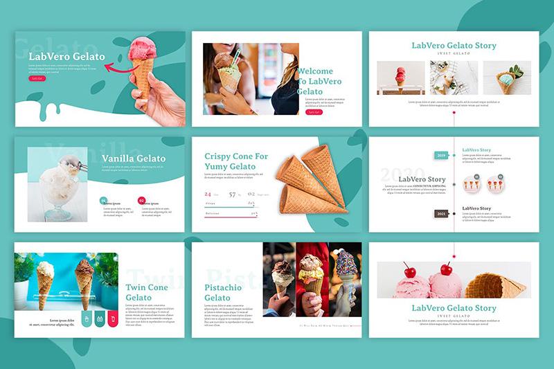 冰淇凌甜品店品牌连锁宣传PPT幻灯片模板designshidai_ppt029
