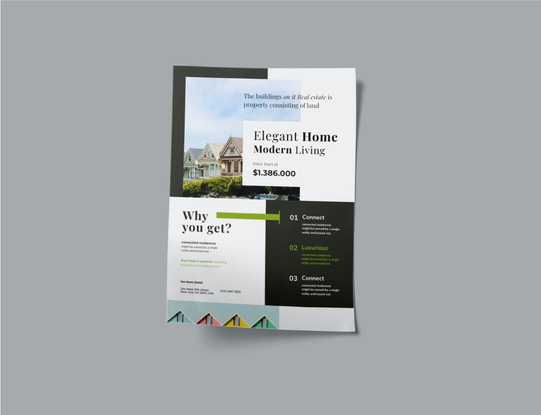 时尚高端简约清新多用途房地产海报设计模板designshidai_haibao29