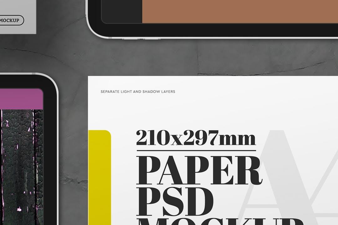 A4传单ipad平板电脑展示样机mockup模型designshidai_yj392