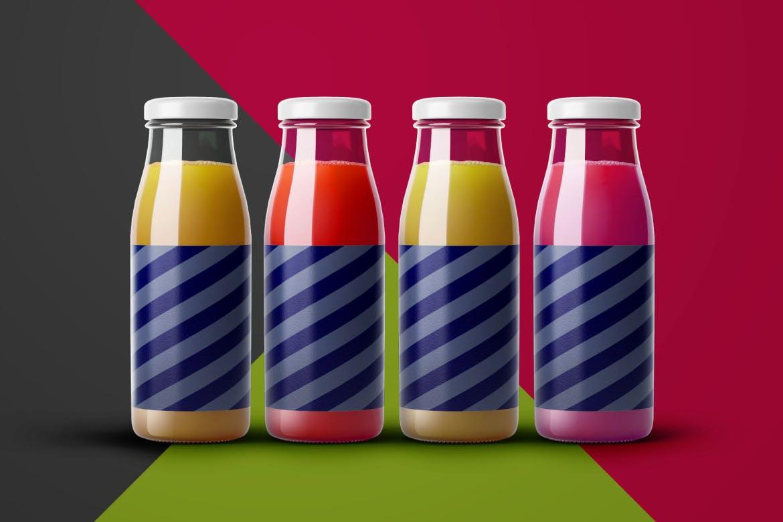 果汁饮料玻璃瓶包装展示样机mockups模型designshidai_yj393