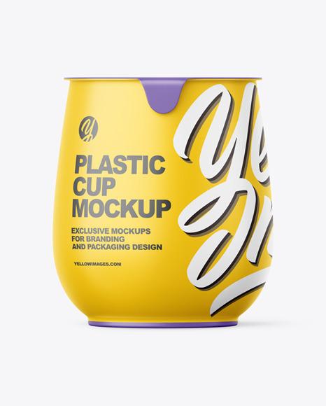 哑光塑料中号酸奶杯包装样机-前视图designshidai_yj416