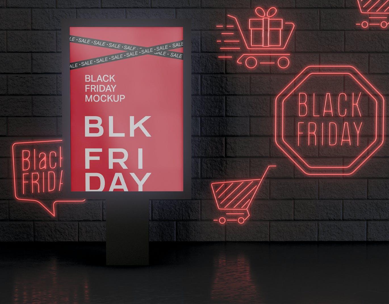 黑色星期五的广告牌模型designshidai_yj420