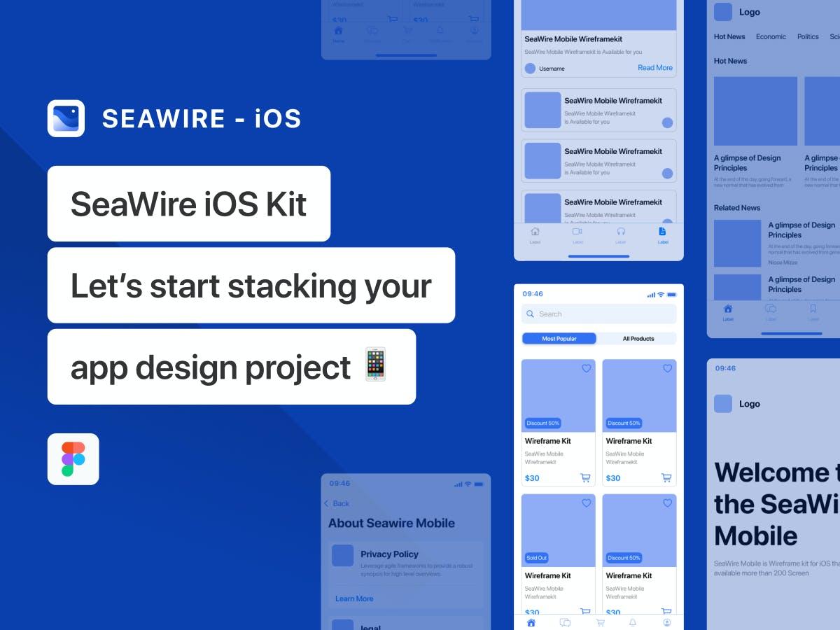 时尚高端简约专业的高品质iOS移动应用线框套件designshidai_ui118
