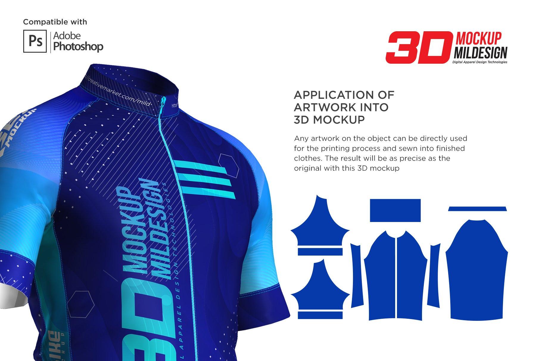 3D男士骑行服套装服装样机模板designshidai_yj421