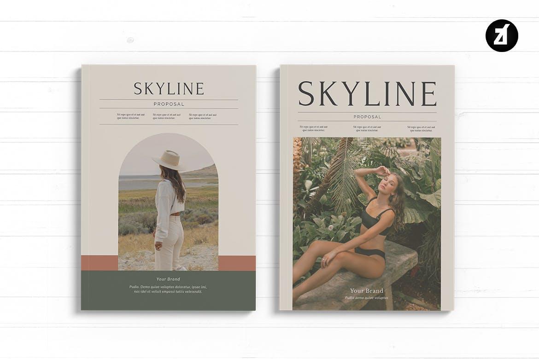 时尚高端简约清新多用途品牌手册画册宣传册杂志房地产楼书设计模板designshidai_zazhi018