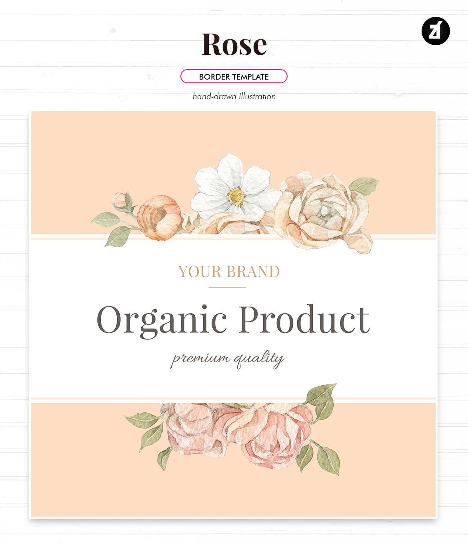 时尚高端优雅简约多用途的玫瑰花植物边框底纹背景纹理集合designshidai_beijing95