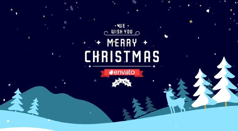 可爱卡通雪山元素圣诞节日问候视频AE模板designshidai_video0006