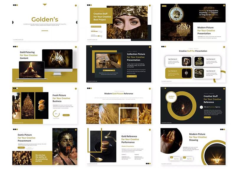 创意个人演讲幻灯片设计PPT模板 Golden's – Powerpoint Template designshidai_ppt019