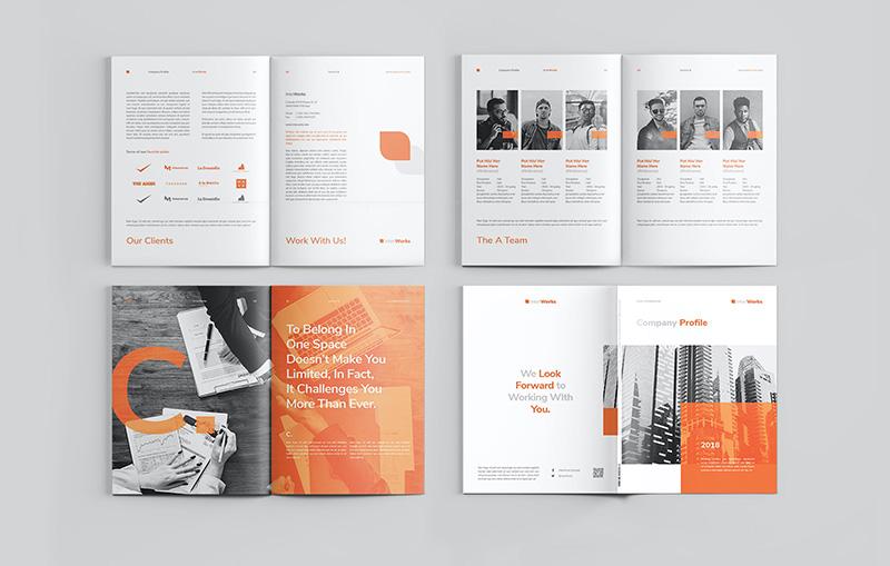 橙色主题公司简介/企业宣传画册排版设计模板 Company Profile designshidai_zhazhi002