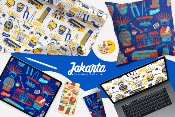 雅加达城市元素无缝图案素材designshidai_beijing103